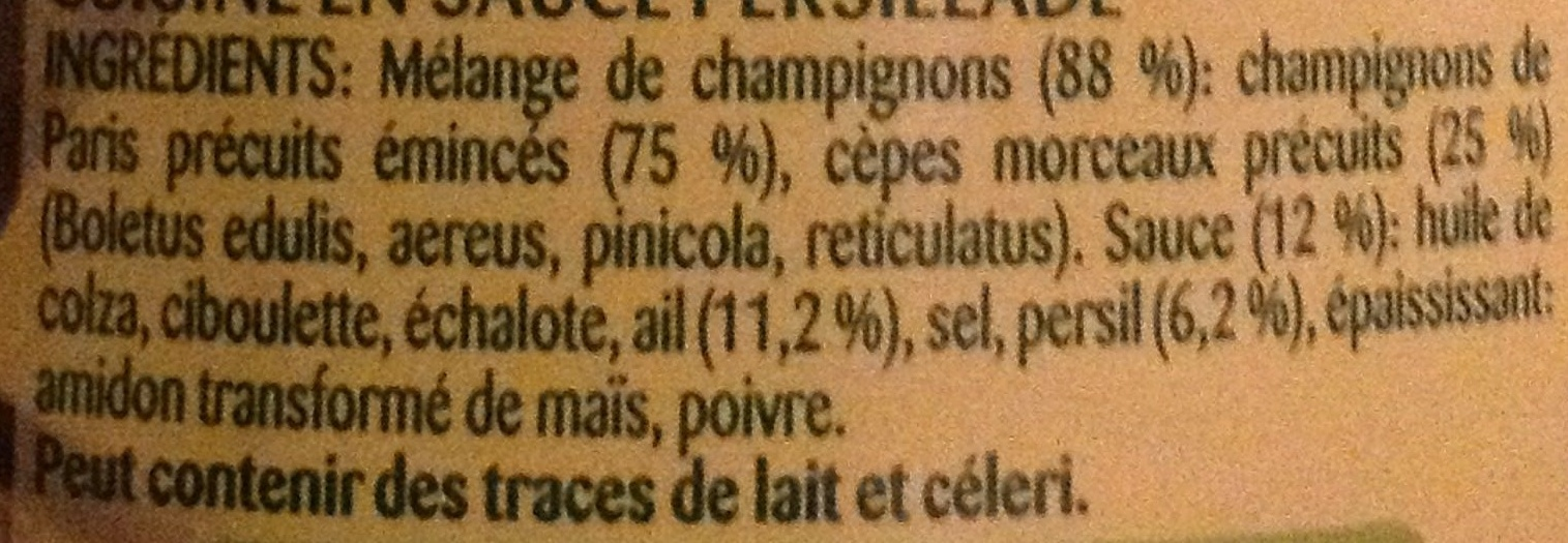 Champignons à la Persillade à poêler - Ingrediënten