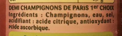 , Demi champignons de Paris, 230 g net égoutté - Ingrédients - fr