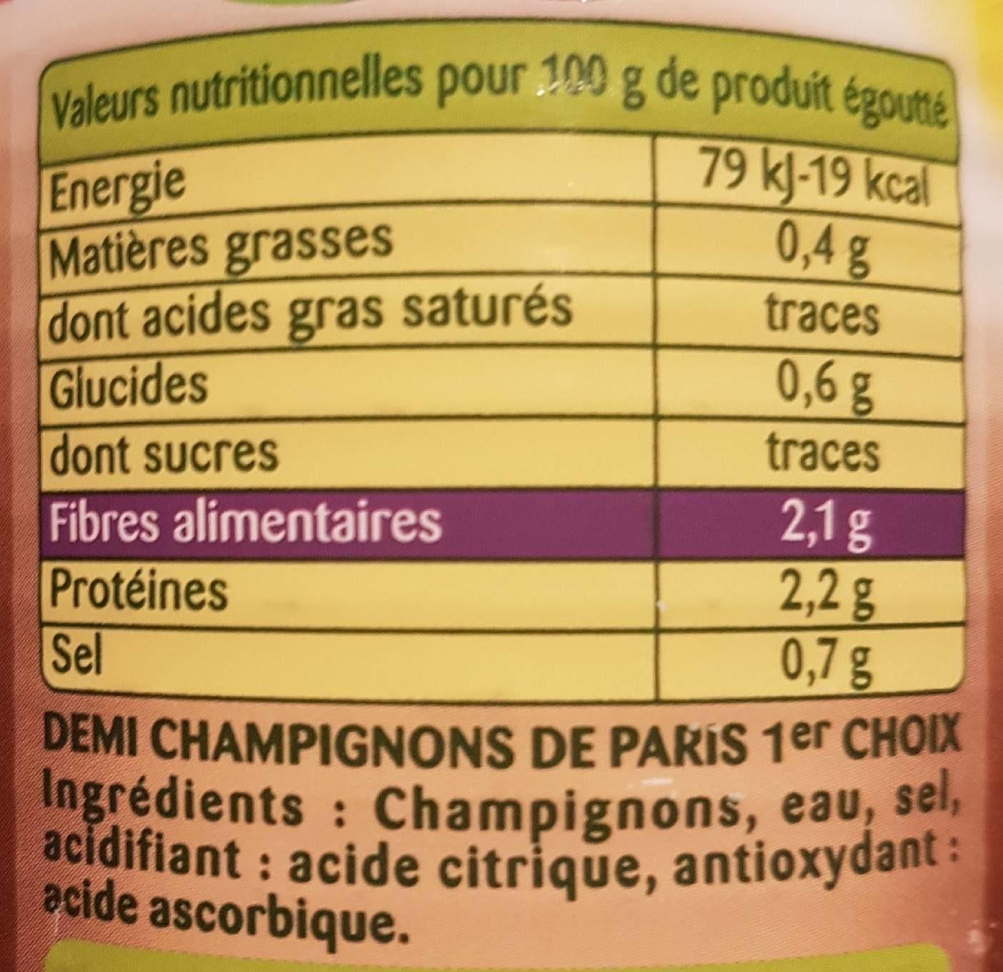 , Demi champignons de Paris, 230 g net égoutté - Informations nutritionnelles - fr