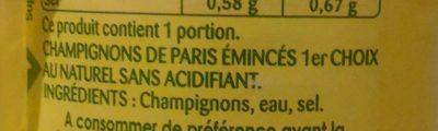 Champignons de Paris émincés épais au naturel - Ingrédients - fr