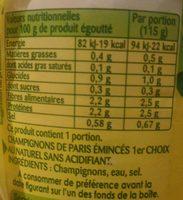 Champignons de Paris émincés épais au naturel - Informations nutritionnelles - fr