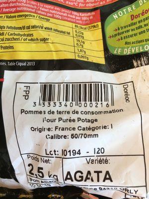 Pomme de terre pour frite, purée et potage, Variété  Milva,      Catégorie 1, Calibre 50/70mm - Product