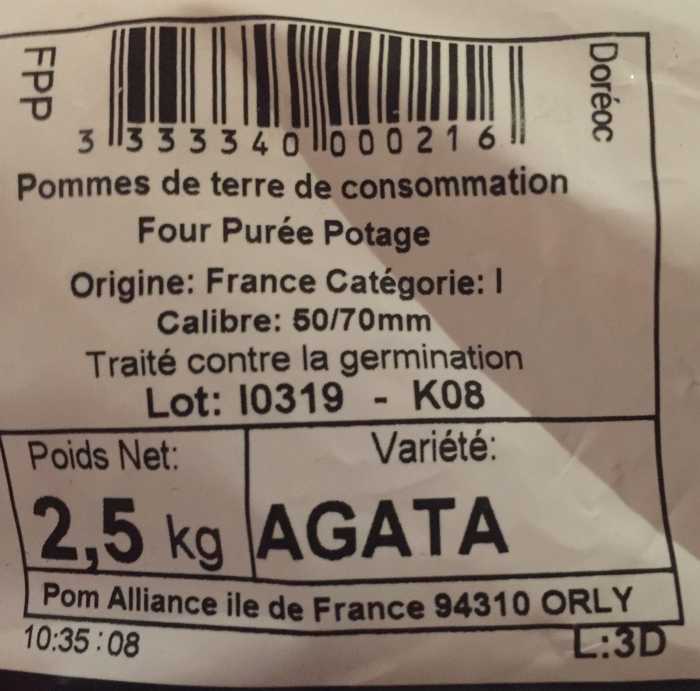 Pomme de terre pour frite, purée et potage, Variété  Milva,      Catégorie 1, Calibre 50/70mm - Ingredients