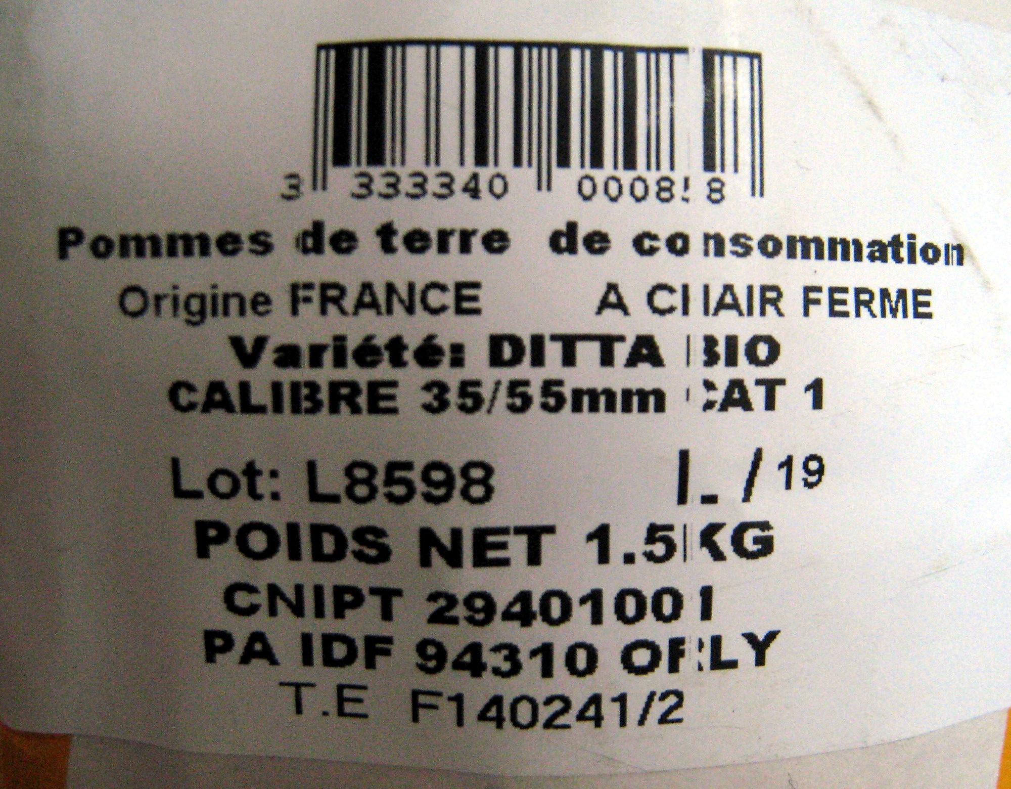 Pommes de terre bio saveur Pom' Alliance - Ingredienti - fr