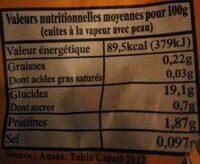 Pommes de terre bio saveur Pom' Alliance - Valori nutrizionali - fr