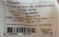 Pommes de terre Amandine - Ingrédients