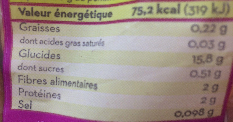 Pommes de terre Amandine - Informations nutritionnelles