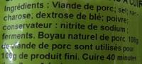 Saucisse de Morteau - Ingrédients - fr