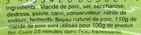 Saucisse de Montbéliard - Ingrédients