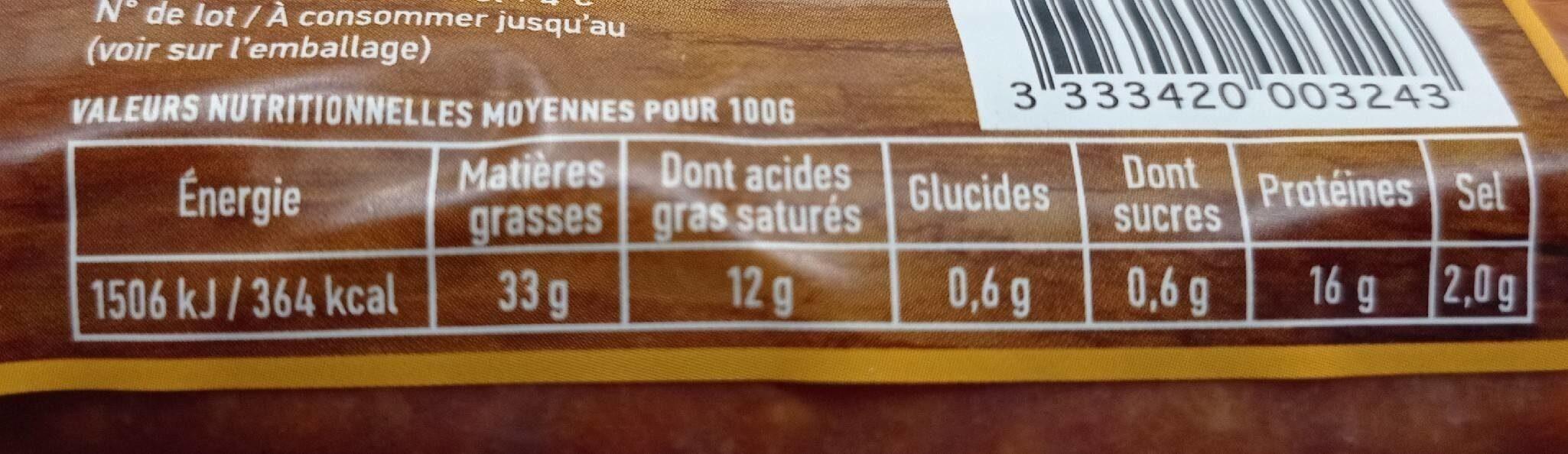 Saucisses fumées au comtè - Informations nutritionnelles - fr