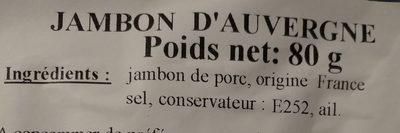 Jambon d'Auvergne - Ingrédients - fr