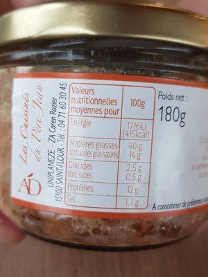 Jambon d'Auvergne - Informations nutritionnelles - fr