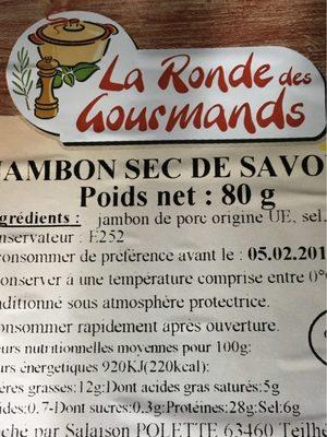 Jambon sec de Savoie - Ingrédients - fr