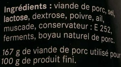 Saucisse sèche d'Auvergne - Ingrédients