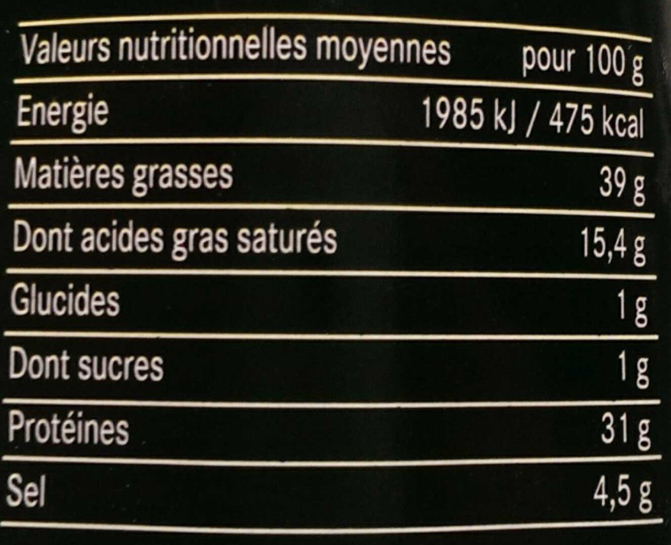 Saucisse sèche d'Auvergne - Informations nutritionnelles