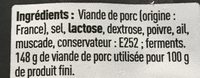 Saucisson sec d'auvergne - Ingredients - fr