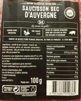 Saucisson sec d'auvergne - Nutrition facts - fr