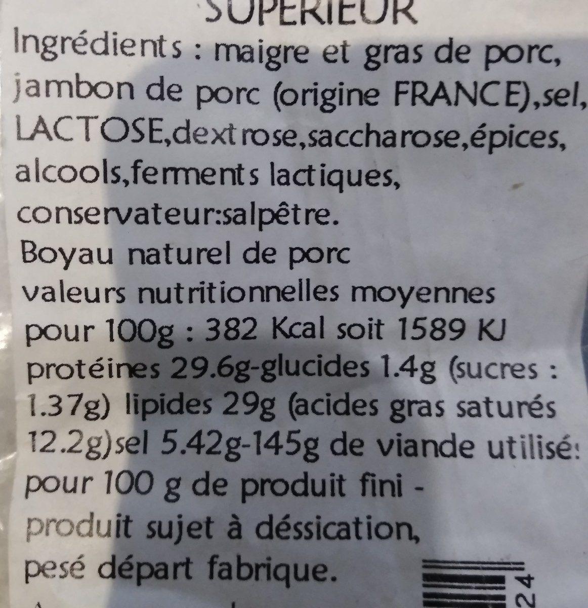 Saucisson pur porc superieur LOUIS AUVERGNE 300 g - Ingredients - fr