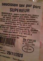 Saucisson pur porc superieur LOUIS AUVERGNE 300 g - Nutrition facts - fr