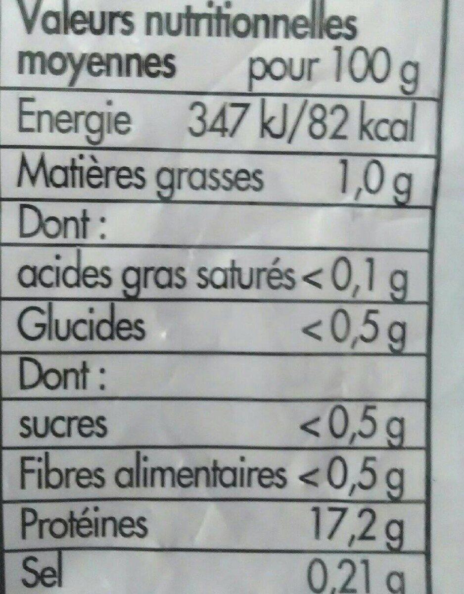 10 tranches de filets de cabillaud - Informations nutritionnelles - fr