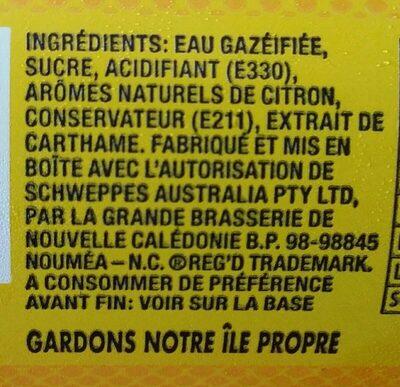 SOLO original lemon - Ingrédients