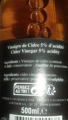 Vinaigre de cidre - Ingredients - fr