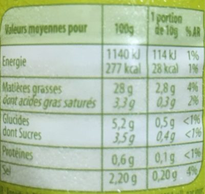 Sauce crudités nature - Nutrition facts