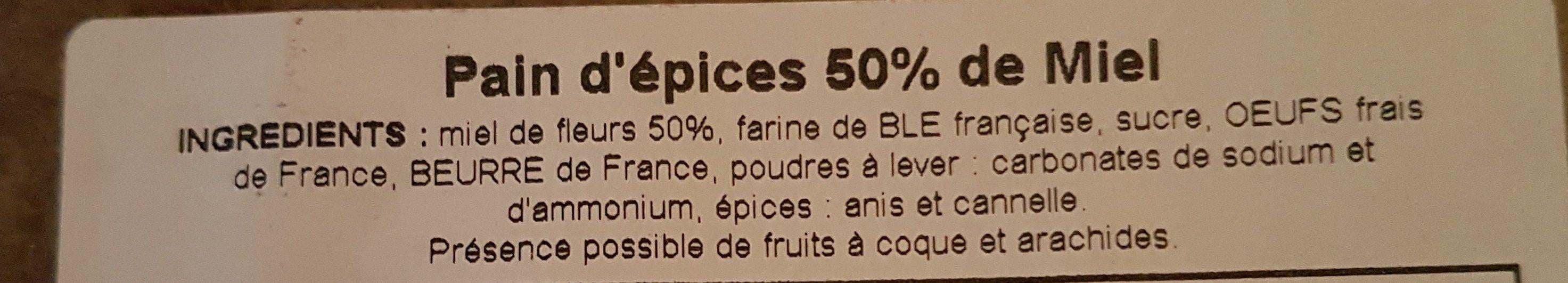 Pain dépices 50% miel - Ingredients
