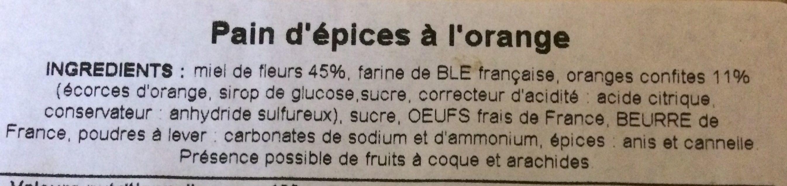 Pain d'epice à l'orange - Ingredients