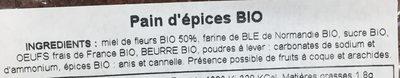 Pain d'epices bio - Ingrediënten - fr