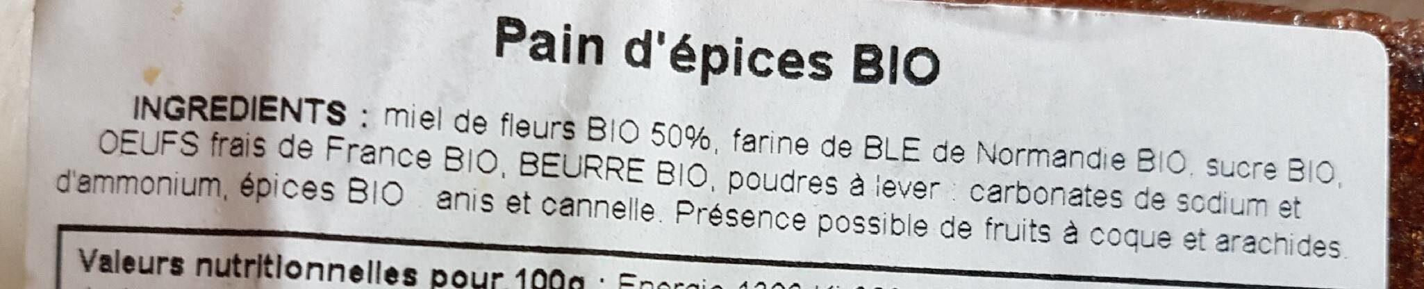 Pain d'épices BIO - Ingredients