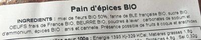 Pain d'épices bio - Ingredients