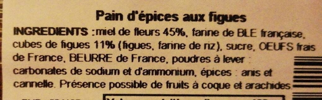 Pain d'épices aux figues - Ingredients