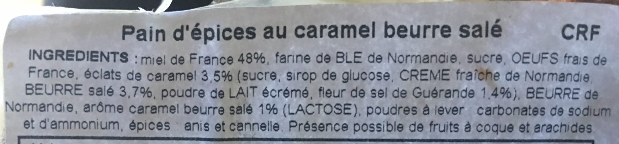 Pain d'épices au caramel beurre salé - Ingredients