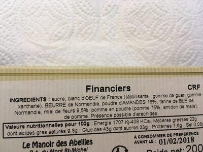 200G Petits Financiers Le Manoir - Ingrédients - fr