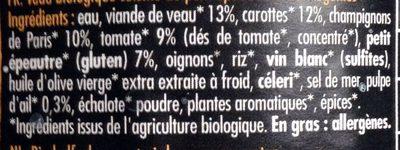 Veau marengo - Ingrediënten - fr