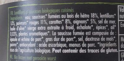 Lentillons et saucisses cuisinés aux petits légumes - Ingrediënten