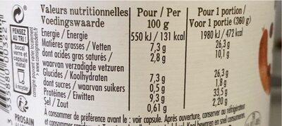 Epicerie / Plats Et Produits Cuisinés / Plats Préparés Bio - Voedingswaarden - fr