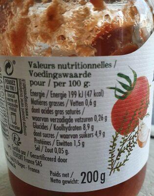 Sauce tomate provencale sans sel ajouté - Informations nutritionnelles - fr