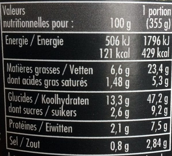 Orgetto Mediterraeenne Legumes 355G - Informations nutritionnelles
