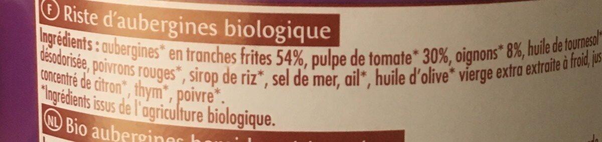 Riste D'aubergine - Ingrédients