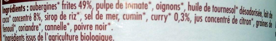 Curry d'aubergines - Ingrédients - fr