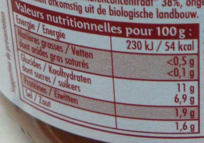 Coulis de tomates - Nährwertangaben - fr