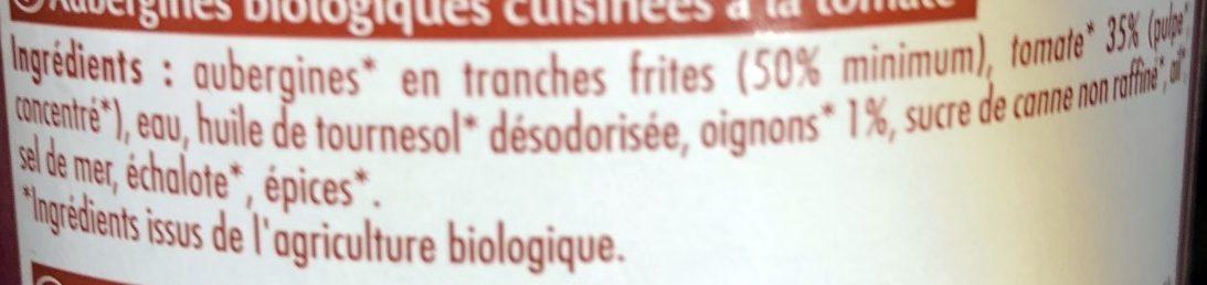 Aubergines Cuisinees a La Tomate - Ingrédients - fr