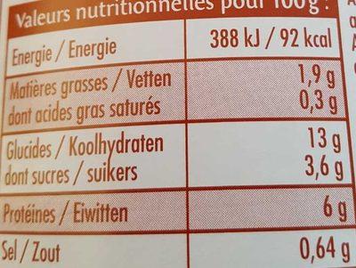Chili recette végératienne - Nutrition facts