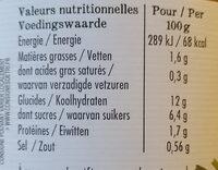 Tajine du soleil aux 7 légumes - Informations nutritionnelles - fr