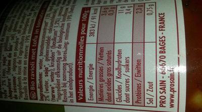 Ravioli Au Tofu Et Basilic - Voedingswaarden