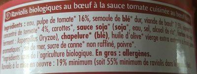 Raviolis au Bœuf sauce Napolitaine - Ingrediënten - fr