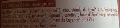 Chili Con Carne BIO  recette Tex-Mex - Ingredients