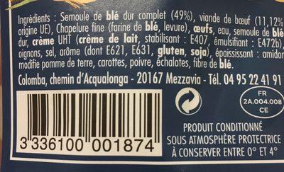 Capelletti au boeuf - Ingrediënten - fr